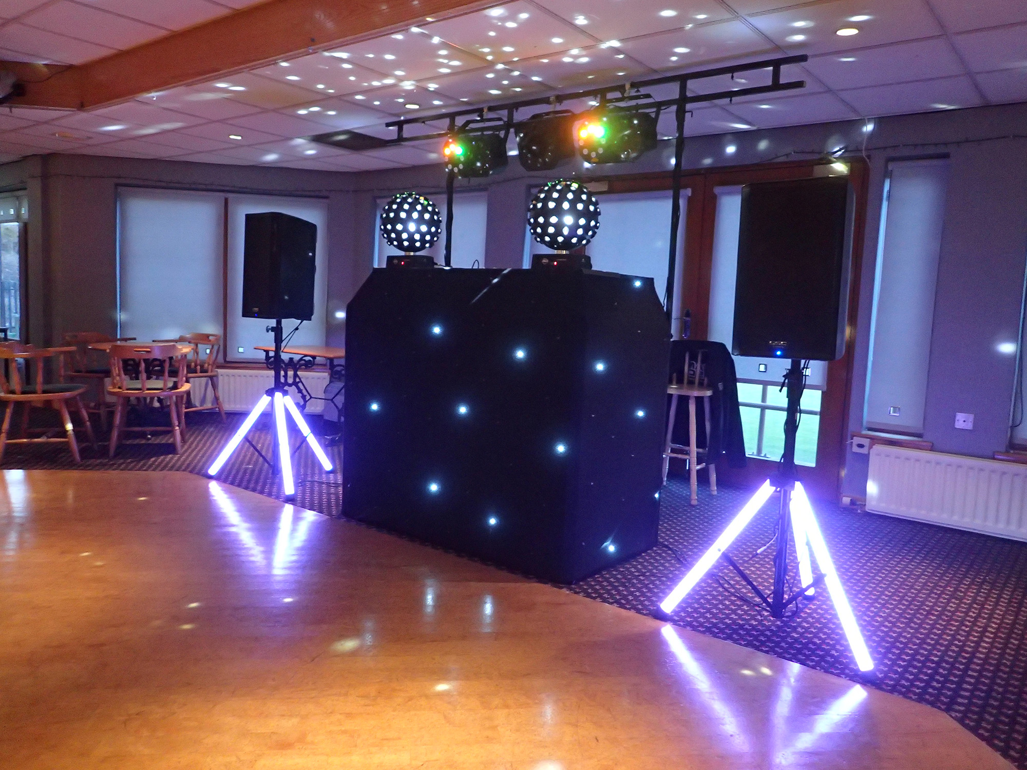 Beano Disco set up with light up speaker stands and disco balls