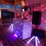 Beano Disco wedding set up with red and purple lights